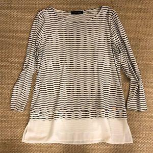 Ivanka Trump Black & White layered blouse